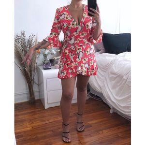 *New* Zara Flirty Floral Wrap Skort Romper